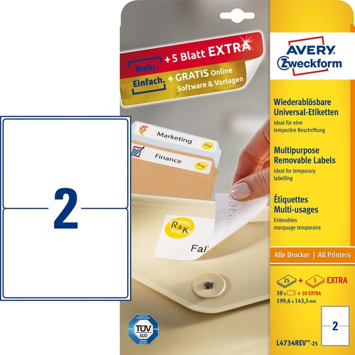 Etiketten Inkjet+Laser+Kopier 199,6x143,5mm auf A4 Bögen weiß wiederablösbar Zweckform L4734REV-25 (PACK=60 STÜCK) Produktbild
