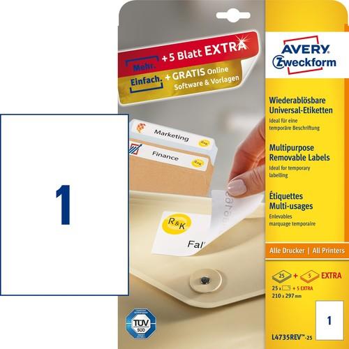 Etiketten Inkjet+Laser+Kopier 210x297mm auf A4 Bögen weiß wiederablösbar Zweckform L4735REV-25 (PACK=30 STÜCK) Produktbild