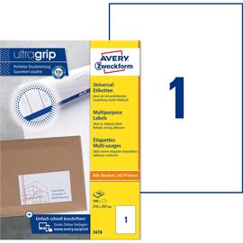 Etiketten Inkjet+Laser+Kopier 210x297mm auf A4 Bögen weiß Zweckform 3478 (PACK=100 STÜCK) Produktbild