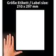 Etiketten Inkjet+Laser+Kopier 210x297mm auf A4 Bögen weiß Zweckform 3478 (PACK=100 STÜCK) Produktbild Additional View 6 S