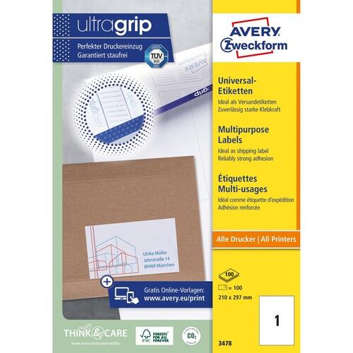 Etiketten Inkjet+Laser+Kopier 210x297mm auf A4 Bögen weiß Zweckform 3478 (PACK=100 STÜCK) Produktbild Additional View 1 L