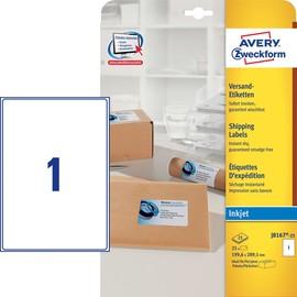 Adress-Etiketten Inkjet 199,6x289,1mm auf A4 Bögen weiß schnelltrocknend Zweckform J8167-25 (PACK=25 STÜCK) Produktbild