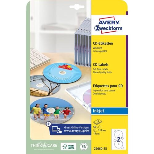 CD-Etiketten Inkjet 117mm ø auf A4 Bögen weiß high-glossy Zweckform C9660-25 (PACK=50 STÜCK) Produktbild Additional View 1 L