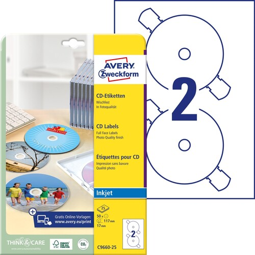 CD-Etiketten Inkjet 117mm ø auf A4 Bögen weiß high-glossy Zweckform C9660-25 (PACK=50 STÜCK) Produktbild