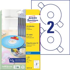 CD-Etiketten Inkjet+Laser+Kopier 117mm ø auf A4 Bögen weiß high-glossy Zweckform C6074-20 (PACK=40 STÜCK) Produktbild