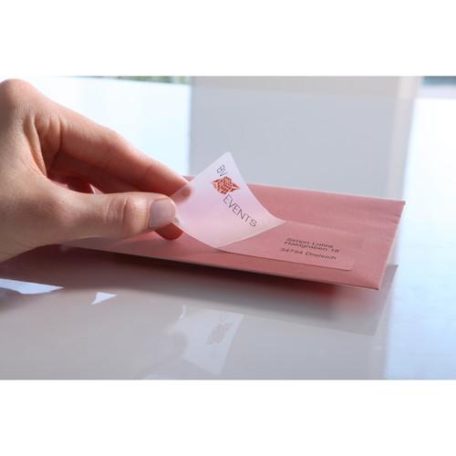 Adress-Etiketten Laser+Kopier 48,5x25,4mm auf A4 Bögen transparent Zweckform L4770-25 (PACK=1000 STÜCK) Produktbild Additional View 3 L