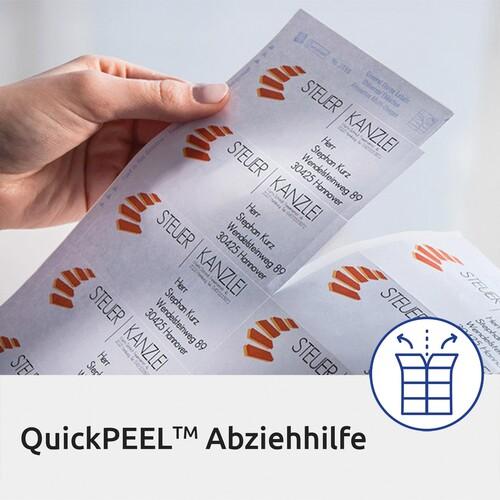 Adress-Etiketten Laser+Kopier 48,5x25,4mm auf A4 Bögen transparent Zweckform L4770-25 (PACK=1000 STÜCK) Produktbild Additional View 4 L