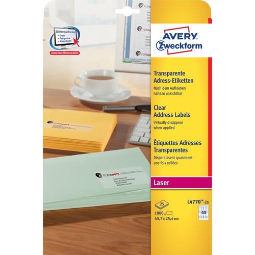 Adress-Etiketten Laser+Kopier 48,5x25,4mm auf A4 Bögen transparent Zweckform L4770-25 (PACK=1000 STÜCK) Produktbild Additional View 1 L