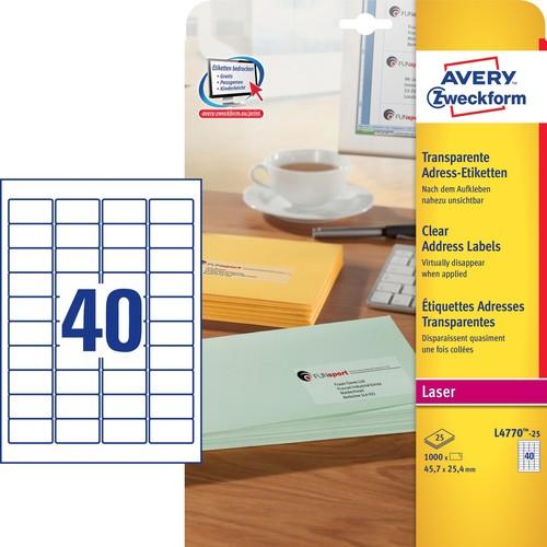 Adress-Etiketten Laser+Kopier 48,5x25,4mm auf A4 Bögen transparent Zweckform L4770-25 (PACK=1000 STÜCK) Produktbild