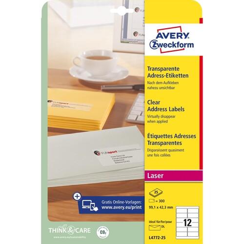 Adress-Etiketten Laser+Kopier 99,1x42,3mm auf A4 Bögen transparent Zweckform L4772-25 (PACK=300 STÜCK) Produktbild Additional View 1 L