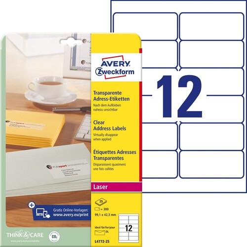 Adress-Etiketten Laser+Kopier 99,1x42,3mm auf A4 Bögen transparent Zweckform L4772-25 (PACK=300 STÜCK) Produktbild