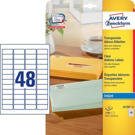 Adress-Etiketten Inkjet 45,7x21,2mm auf A4 Bögen transparent Zweckform J4720-25 (PACK=1200 STÜCK) Produktbild