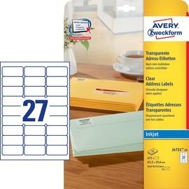Adress-Etiketten Inkjet 63,5x29,6mm auf A4 Bögen transparent Zweckform J4721-25 (PACK=675 STÜCK) Produktbild