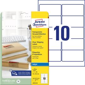 Adress-Etiketten Inkjet 96x50,8mm auf A4 Bögen transparent Zweckform J4722-25 (PACK=200 STÜCK) Produktbild