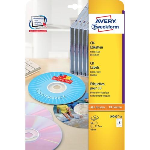 CD-Etiketten Inkjet+Laser+Kopier 117mm ø auf A4 Bögen weiß Zweckform L6043-25 (PACK=50 STÜCK) Produktbild Additional View 1 L