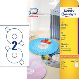 CD-Etiketten Inkjet+Laser+Kopier 117mm ø auf A4 Bögen weiß Zweckform L6043-25 (PACK=50 STÜCK) Produktbild