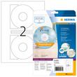 CD-Etiketten Inkjet+Laser+Kopier ø116mm auf A4 Bögen weiß matt blickdicht permanent Herma 5079 (PACK=50 STÜCK) Produktbild