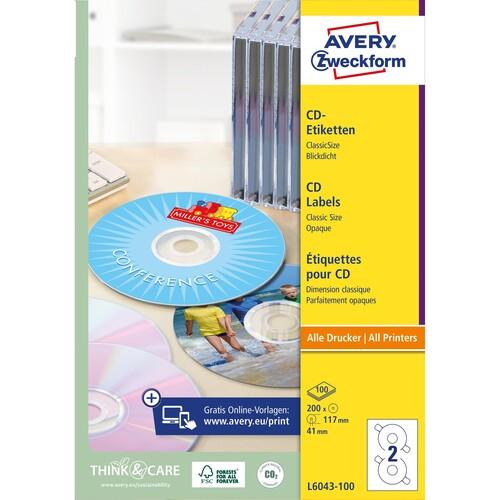 CD-Etiketten Inkjet+Laser+Kopier 117mm ø auf A4 Bögen weiß Zweckform L6043-100 (PACK=200 STÜCK) Produktbild Additional View 1 L