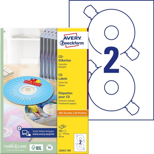 CD-Etiketten Inkjet+Laser+Kopier 117mm ø auf A4 Bögen weiß Zweckform L6043-100 (PACK=200 STÜCK) Produktbild