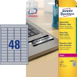 Typenschild-Etiketten Laser+Kopier 45,7x21,2mm auf A4 Bögen silber Polyester Zweckform L6009-20 (PACK=960 STÜCK) Produktbild