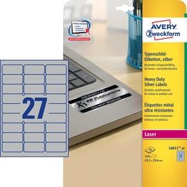 Typenschild-Etiketten Laser+Kopier 63,5x29,6mm auf A4 Bögen silber Polyester Zweckform L6011-20 (PACK=540 STÜCK) Produktbild