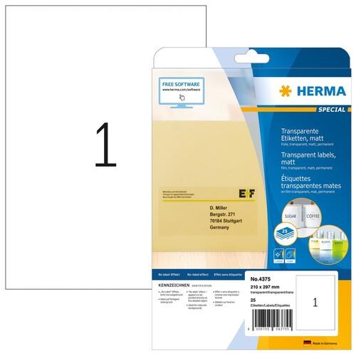 Folien-Etiketten Laser+Kopier 210x297mm A4 wetterfest+alterungs- beständig transparent Herma 4375 (PACK=25 STÜCK) Produktbild