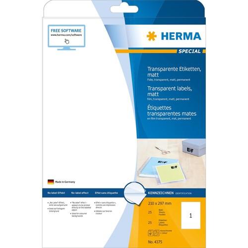 Folien-Etiketten Laser+Kopier 210x297mm A4 wetterfest+alterungs- beständig transparent Herma 4375 (PACK=25 STÜCK) Produktbild Additional View 1 L