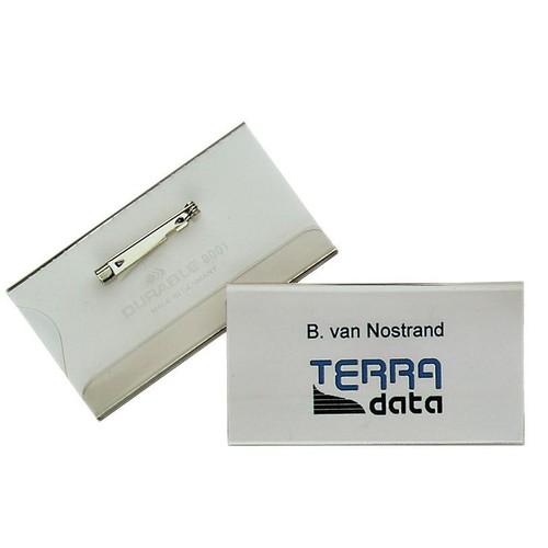 Namensschild mit Nadel + Einstecklasche 40x75mm Durable 8601-19 (PACK=5 STÜCK) Produktbild Front View L
