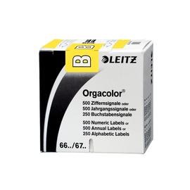 Buchstabensignale B Orgacolor auf Rolle 30x23mm gelb selbstklebend Leitz 6611-10-00 (SCH=250 STÜCK) Produktbild