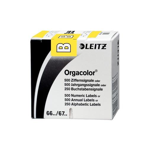 Buchstabensignale B Orgacolor auf Rolle 30x23mm gelb selbstklebend Leitz 6611-10-00 (SCH=250 STÜCK) Produktbild Front View L