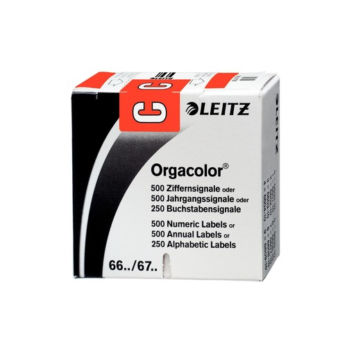 Buchstabensignale C Orgacolor auf Rolle 30x23mm rot selbstklebend Leitz 6612-10-00 (SCH=250 STÜCK) Produktbild Front View L