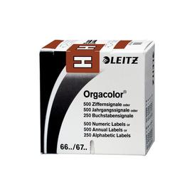 Buchstabensignale H Orgacolor auf Rolle 30x23mm braun selbstklebend Leitz 6617-10-00 (SCH=250 STÜCK) Produktbild