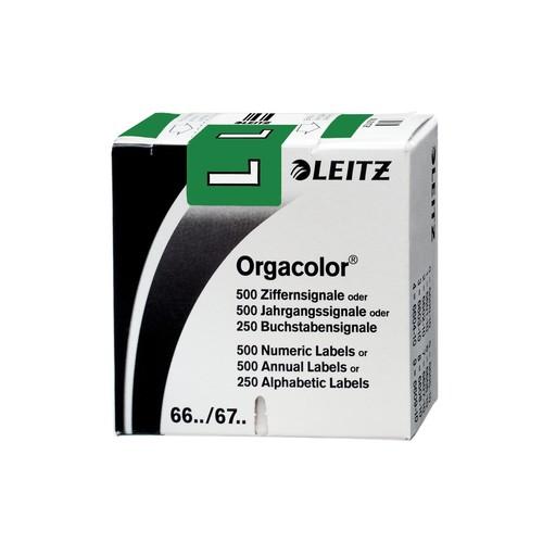 Buchstabensignale L Orgacolor auf Rolle 30x23mm dunkelgrün selbstklebend Leitz 6621-10-00 (SCH=250 STÜCK) Produktbild Front View L