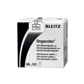 Buchstabensignale N Orgacolor auf Rolle 30x23mm weiß selbstklebend Leitz 6623-10-00 (SCH=250 STÜCK) Produktbild