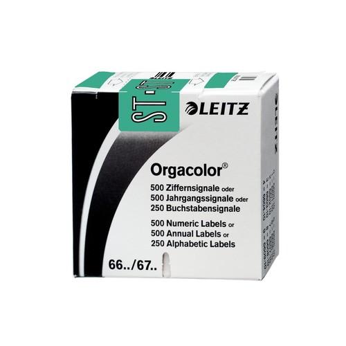 Buchstabensignale ST Orgacolor auf Rolle 30x23mm türkis selbstklebend Leitz 6637-10-00 (SCH=250 STÜCK) Produktbild Front View L