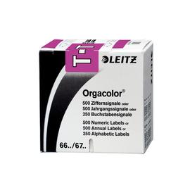 Buchstabensignale T Orgacolor auf Rolle 30x23mm violett selbstklebend Leitz 6629-10-00 (SCH=250 STÜCK) Produktbild