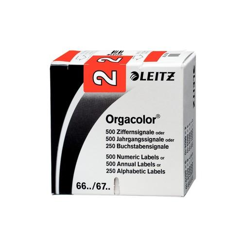 Ziffernsignale 2 Orgacolor auf Rolle 30x23mm rot selbstklebend Leitz 6602-10-10 (SCH=500 STÜCK) Produktbild Front View L