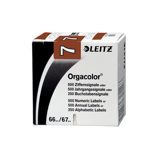 Ziffernsignale 7 Orgacolor auf Rolle 30x23mm braun selbstklebend Leitz 6607-10-00 (SCH=500 STÜCK) Produktbild Front View L