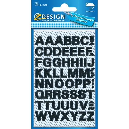 Buchstaben-Etiketten Alphabet 9,5mm schwarz wetterfest selbstklebend Zweckform 3780 (BTL=140 STÜCK) Produktbild