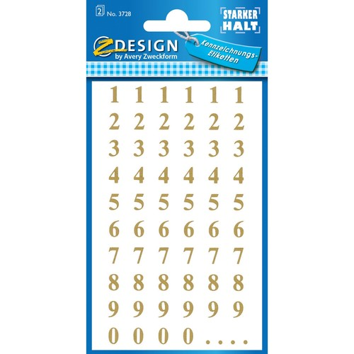 Zahlen-Etiketten 0-9 7,5mm gold/ transparent Zweckform 3728 (BTL=124 STÜCK) Produktbild