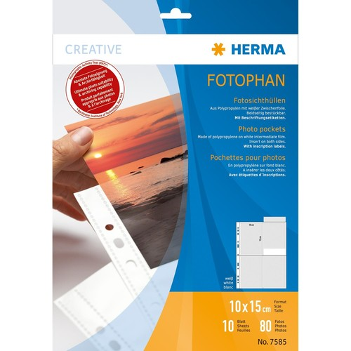 Fotohüllen Fotophan A4 für 10x15cm hoch weiß Kunststoff Herma 7585 (PACK=10 STÜCK) Produktbild Front View L