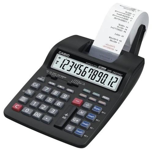 Tischrechner 12-stelliges LC-Display 67x165x285mm zweifarbiger Druck Batteriebetrieb Casio HR-150 RCE Produktbild Front View L
