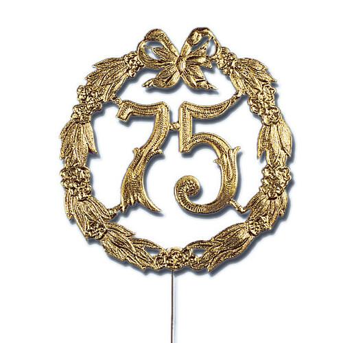 Jubiläumszahl mit Draht 75 Jahre Ø13cm gold Demmler 2225751090 Produktbild Front View L