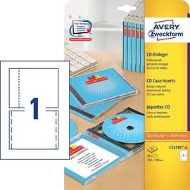 CD-Einleger Inkjet+Laser+Kopier für Jewelcase 151x118mm auf A4 Bögen weiß Zweckform C32250-25 (PACK=25 STÜCK) Produktbild