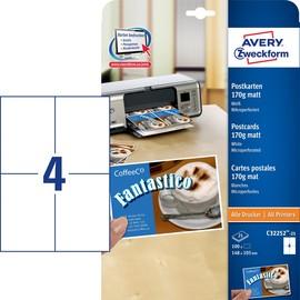 Postkarten Inkjet+Laser+Kopier 148x105mm auf A4 Bögen weiß matt Zweckform C32252-25 (PACK=100 STÜCK) Produktbild