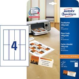 Tischkarten Inkjet+Laser+Kopier 110x40mm auf A4 Bögen 185g weiß Zweckform C32253-25 (PACK=100 STÜCK) Produktbild