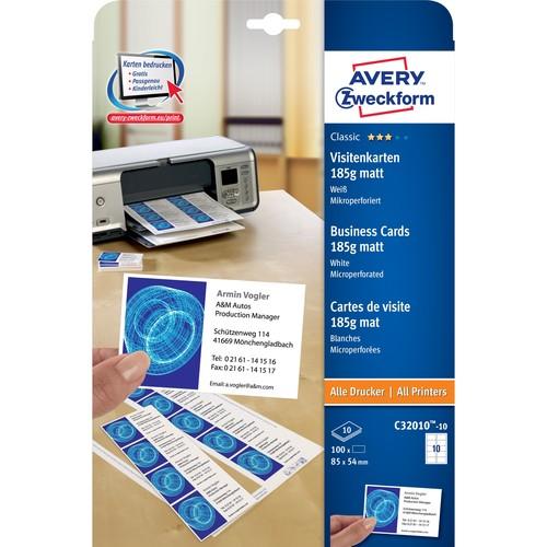 Visitenkarten Inkjet+Laser+Kopier A4 85x54mm 185g weiß beidseitig bedruckbar Microperforation Zweckform C32010-10 (PACK=100 STÜCK) Produktbild Additional View 1 L
