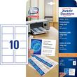 Visitenkarten Inkjet+Laser+Kopier A4 85x54mm 185g weiß beidseitig bedruckbar Microperforation Zweckform C32010-10 (PACK=100 STÜCK) Produktbild