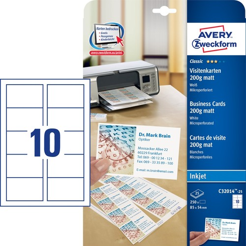 Visitenkarten Inkjet 85x54mm 200g auf A4 Bögen weiß Microperforation Zweckform C32014-25 (PACK=250 STÜCK) Produktbild