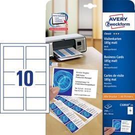 Visitenkarten Inkjet+Laser+Kopier A4 85x54mm 185g weiß beidseitig bedruckbar Microperforation Zweckform C32010-25 (PACK=250 STÜCK) Produktbild